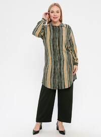 Green - Stripe - Point Collar - Viscose - Plus Size Tunic