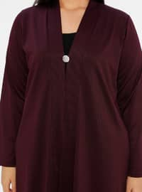 Cherry - V neck Collar - Unlined - Plus Size Jacket