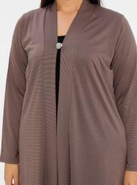 Mink - V neck Collar - Unlined - Plus Size Jacket