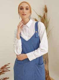 İndigo - Mavi - V Yaka - Astarsız - - Elbise