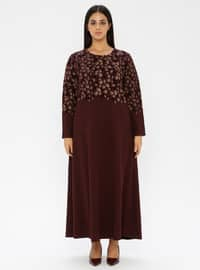 Maroon - Unlined - Crew neck - Viscose - Plus Size Dress