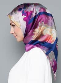 Multi - Floral - %100 Silk - Scarf