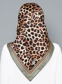 Multi - Leopard - %100 Silk - Scarf