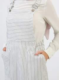 White - Stripe - Sweatheart Neckline - Unlined - Dress