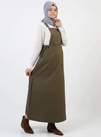 Khaki - Stripe - Sweatheart Neckline - Unlined - Dress