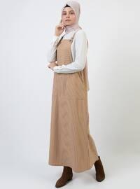 Mink - Stripe - Sweatheart Neckline - Unlined - Dress
