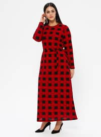 Maroon - Checkered - Unlined - Crew neck - Plus Size Dress