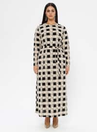 Ecru - Checkered - Unlined - Crew neck - Plus Size Dress
