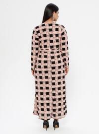 Powder - Checkered - Unlined - Crew neck - Plus Size Dress