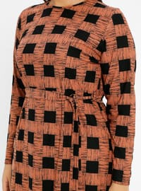 Tan - Checkered - Unlined - Crew neck - Plus Size Dress