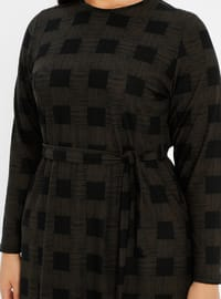 Green - Checkered - Unlined - Crew neck - Plus Size Dress