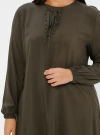 Khaki - Crew neck - Viscose - Plus Size Tunic
