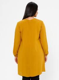 Mustard - Crew neck - Viscose - Plus Size Tunic