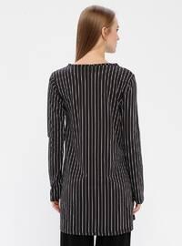 Black - Stripe - Crew neck -  - Tunic