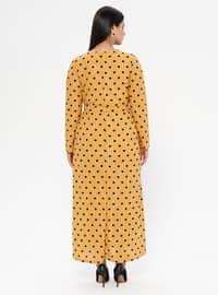 Mustard - Unlined - Crew neck - Plus Size Dress