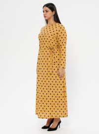 Mustard - Unlined - Crew neck - Plus Size Dress