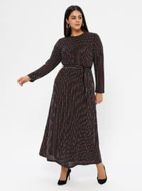 Black - Unlined - Crew neck - Plus Size Dress