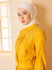 Mustard - Polo neck - Unlined - Nylon - Viscose - Dress