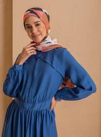 Indigo - Blue - Polo neck - Unlined - Nylon - Viscose - Dress
