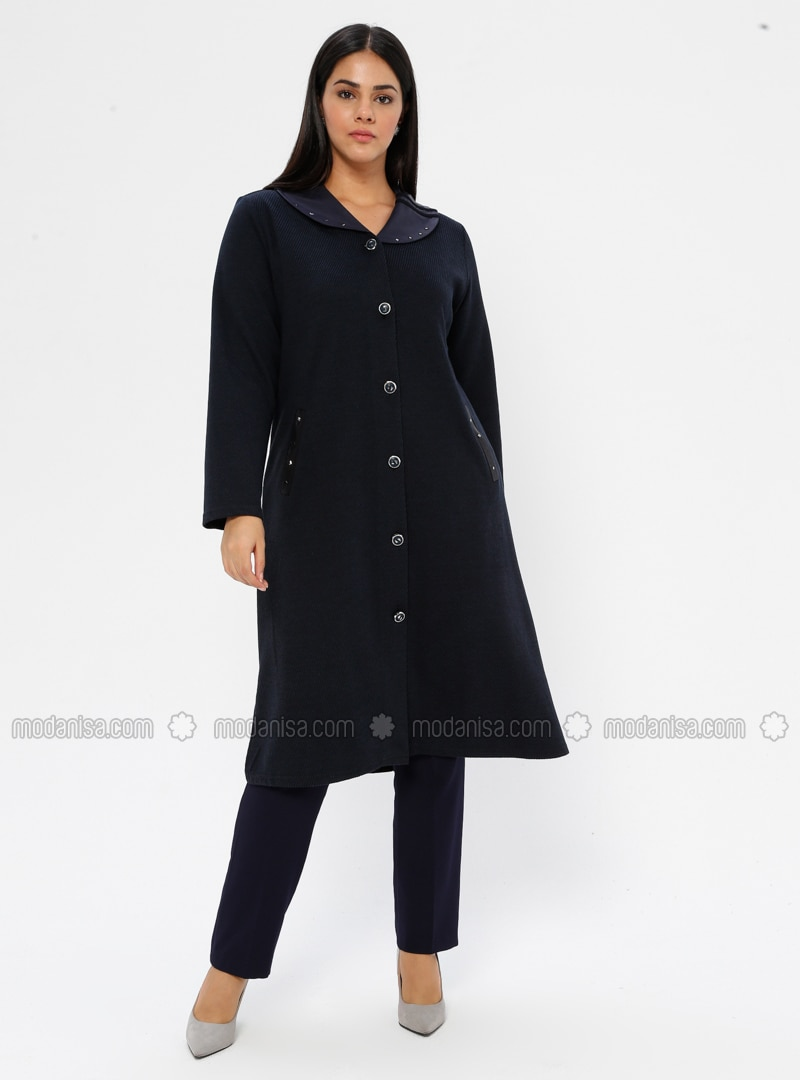 Navy Blue - Unlined - V neck Collar - Viscose - Plus Size Coat