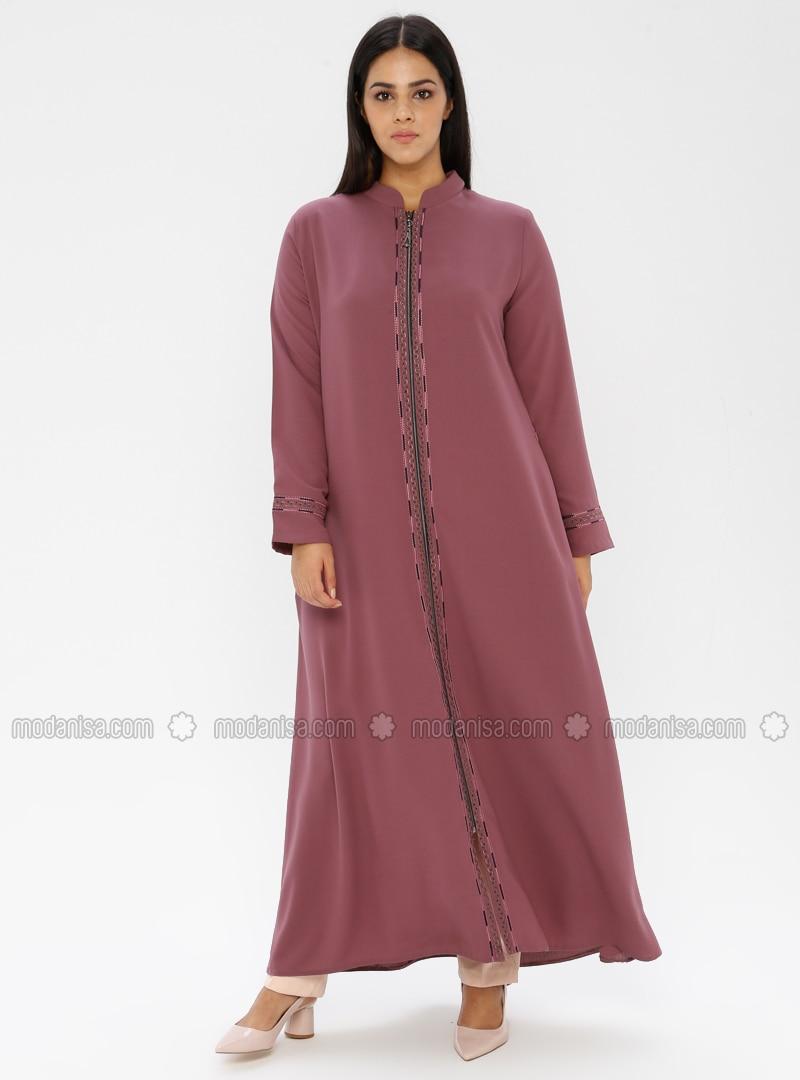 Powder - Crew neck - Unlined - Plus Size Abaya