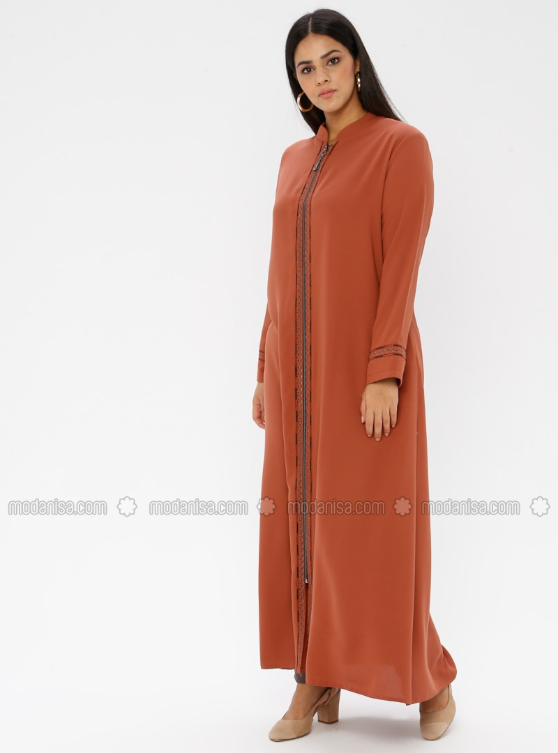 Tan - Crew neck - Unlined - Plus Size Abaya