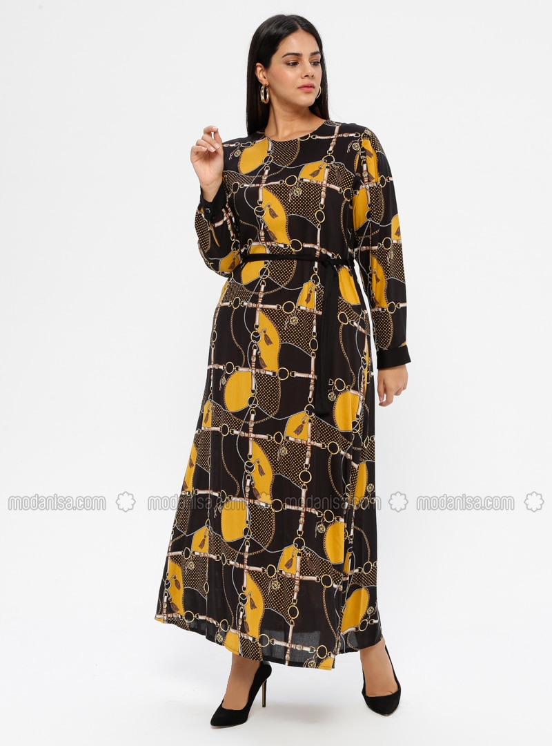 Mustard - Unlined - Crew neck - Viscose - Plus Size Dress