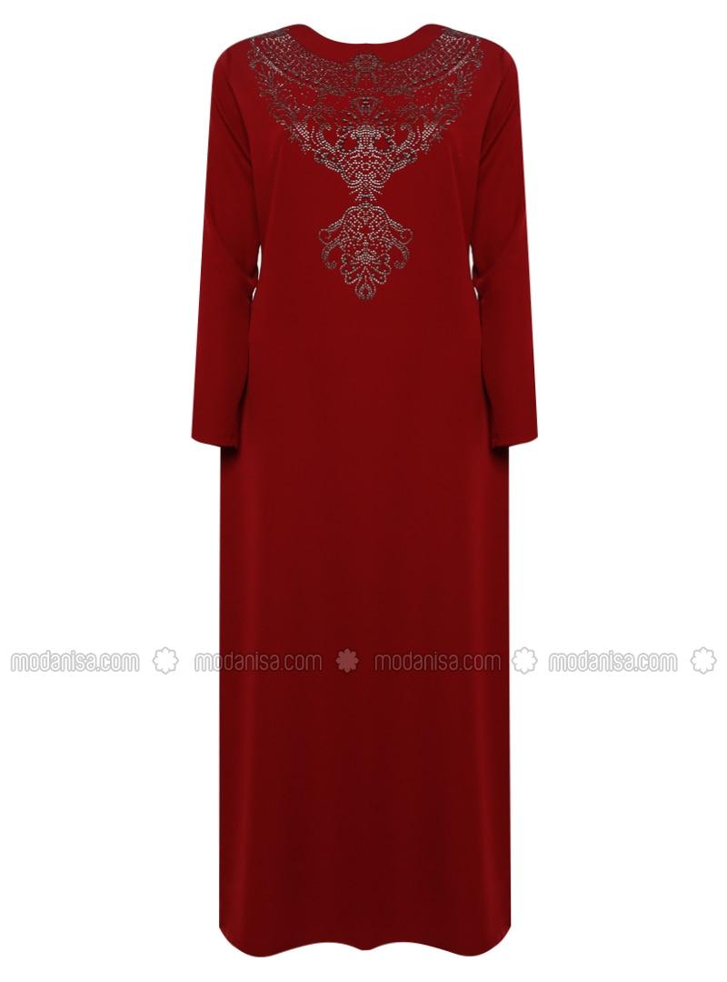 Maroon - Unlined - Crew neck -  - Plus Size Dress
