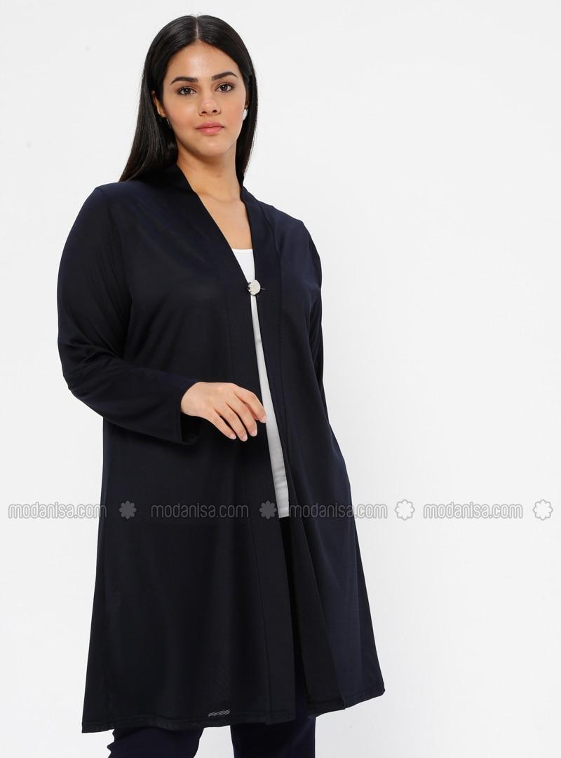 Navy Blue - V neck Collar - Unlined - Plus Size Jacket
