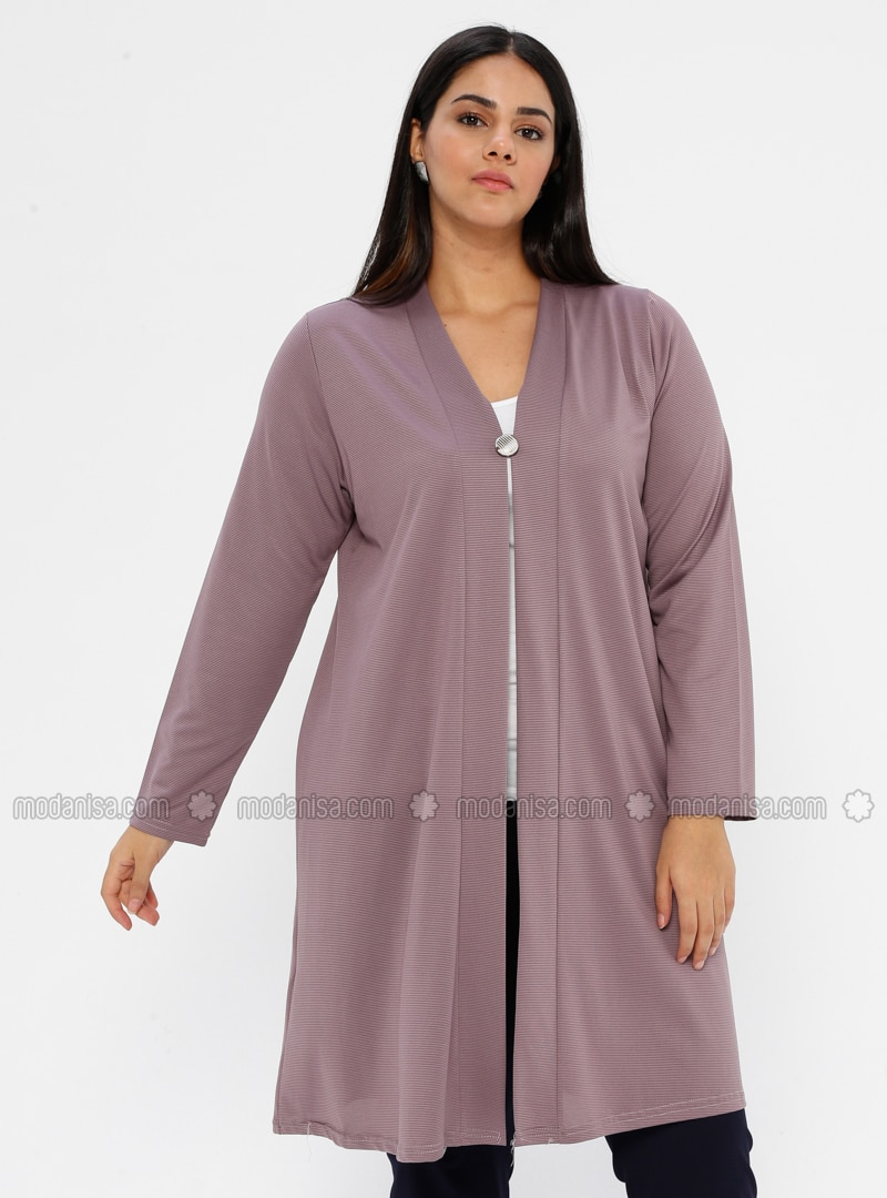 Lilac - V neck Collar - Unlined - Plus Size Jacket