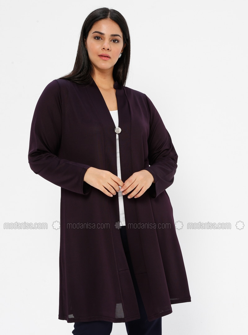 Plum - V neck Collar - Unlined - Plus Size Jacket