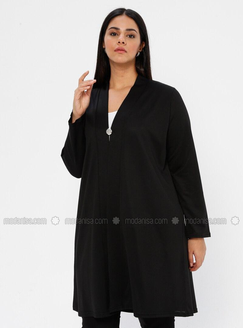 Black - V neck Collar - Unlined - Plus Size Jacket
