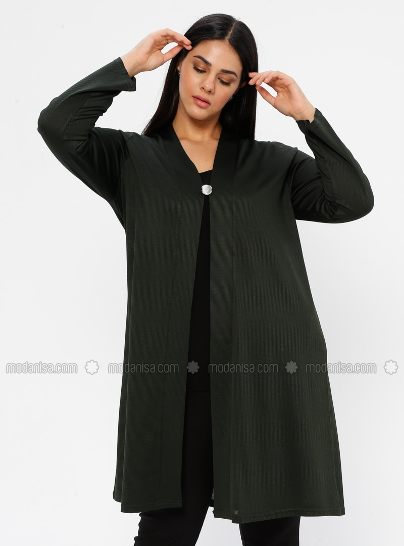 Green - V neck Collar - Unlined - Plus Size Jacket