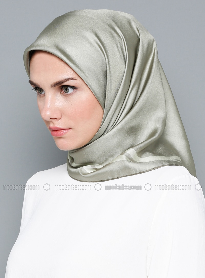 Gray - Silver tone - Patterned Side - %100 Silk - Satin - Scarf