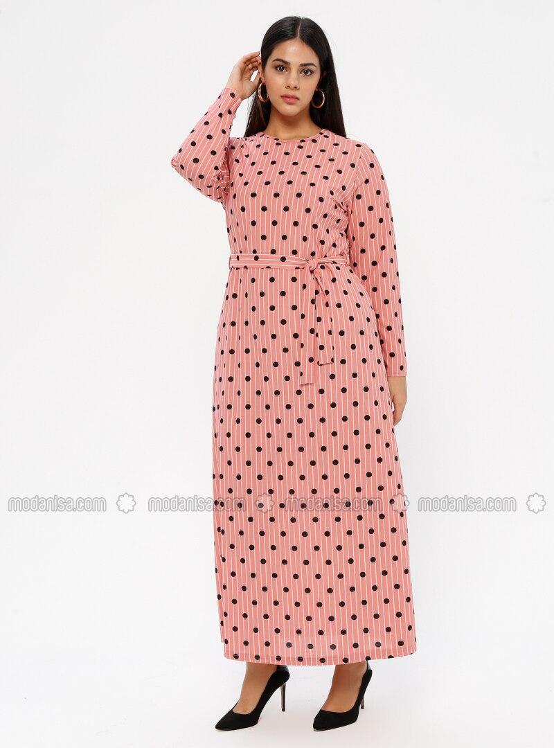 Powder - Unlined - Crew neck - Plus Size Dress