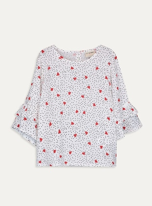 Printed - Ecru - Girls` Blouse - LC WAIKIKI
