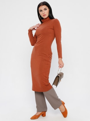 Tan - Polo neck - Fully Lined - Linen - Rayon - Dress