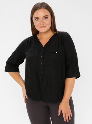 Smoke - V neck Collar - Viscose - Plus Size Blouse