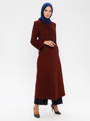 Maroon - Fully Lined - Crew neck - Wool Blend - Coat