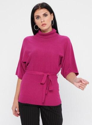 Purple - Polo neck - Nylon -  - Viscose - Jumper