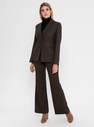 Brown - Fully Lined - Rayon - Suit