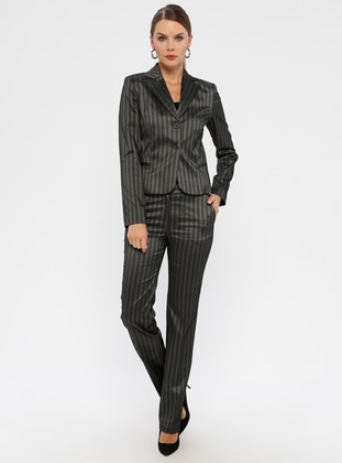 Black - Stripe - Fully Lined - Viscose - Suit