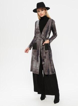 Multi - Lilac - Multi - Shawl Collar - Rayon - Cardigan