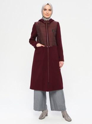 Maroon - Unlined - Nylon - Coat