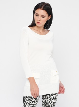 Cream - Boat neck - Nylon -  - Viscose - Jumper