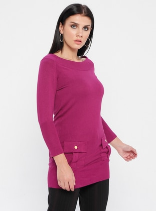 Purple - Boat neck - Nylon -  - Viscose - Jumper