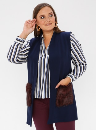 Maroon - Navy Blue - V neck Collar - Viscose - Plus Size Vest