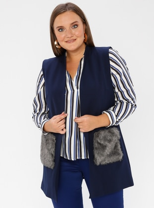 Navy Blue - V neck Collar - Viscose - Plus Size Vest