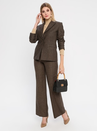 Brown - Stripe - Fully Lined -  - Wool Blend - Suit