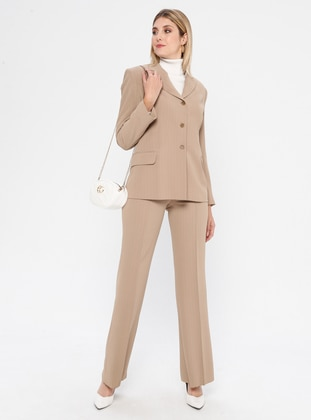 Cream - Stripe - Fully Lined - Suit